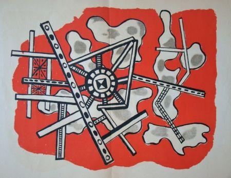 Литография Leger - Construction sur fond rouge