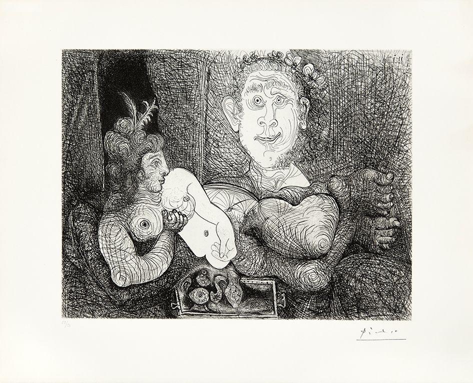 Гравюра Picasso - Coulisses du tableau, odalisque et peintre
