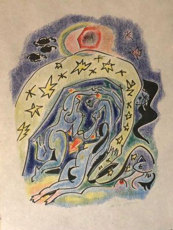 Литография Masson - Couple aux étoiles