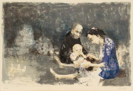 Литография Jansem - Couple with baby