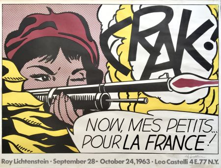 Литография Lichtenstein - 'Crak!' Hand Signed Exhibition Poster 1963