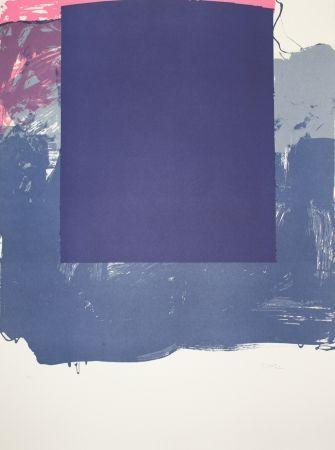 Литография Borrell Palazón - Cuadrado azul (Blue Square)