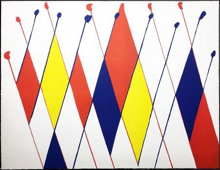 Литография Calder - Damier de losanges bleus jaunes rouges (1966).