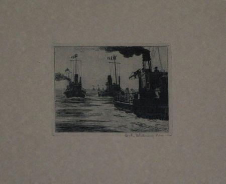 Гравюра Hübner - Dampfschiffe / Steamboats