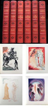 Иллюстрированная Книга Dali - Dante : LA DIVINE COMÉDIE. 6 volumes reliures éditeur. 100 planches couleurs signées. (1959)