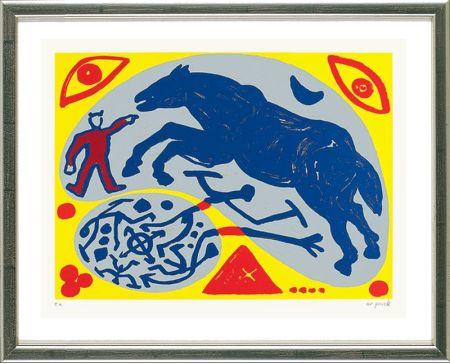 Сериграфия Penck - Das Blaue Pferd und der Mongole
