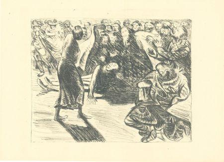 Литография Barlach - Das Paar in der Menge 2 (Heiliger, Strohbraut und Lumpensack)