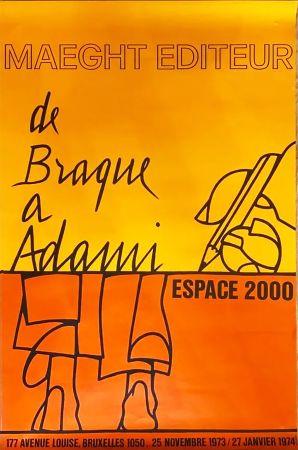 Афиша Adami - DE BRAQUE À ADAMI : Exposition 1974. Affiche originale.