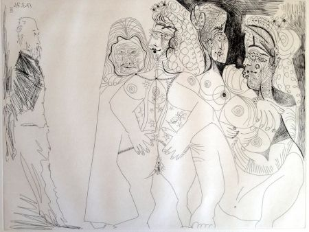 Гравюра Picasso - DEGAS VIEWING THREE NUDES
