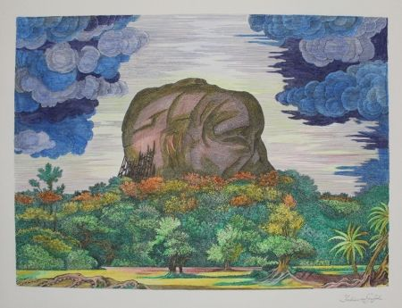 Литография Von Gugel - Der Fels von Sigiriya bei Tag / The Rock of Sigiriya at Daytime