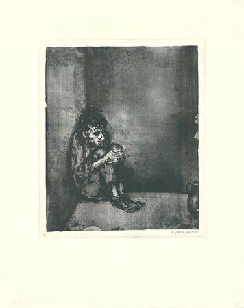 Литография Weber - Der Gefangene (Der Blechnapf)