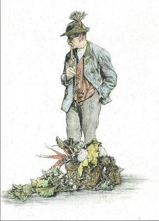 Гравюра Geissler - Der Gemüsemann / The Vegetable Seller