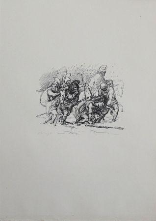Литография Slevogt - Der schwierige Marsch durch den Schnee