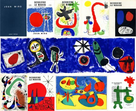 Иллюстрированная Книга Miró - DERRIÈRE LE MIROIR n° 14-15 (Nov-Décembre 1948) + n° 29-30 (Mai 1950) + n° 57-58-59 (Juin 1953) + n° 87-88-89 MIRO ARTIGAS (Juin-Juillet-Août 1956). 25 LITHOGRAPHIES ORIGINALES. ALBUM MAEGHT ORIGINAL.