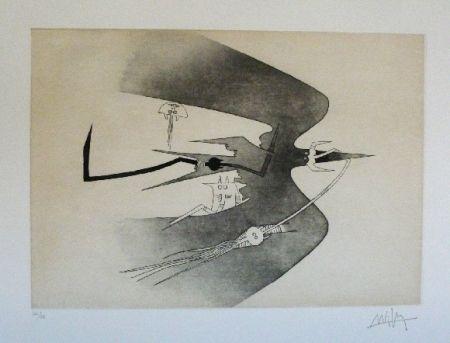 Офорт И Аквитанта Lam - Des hommes oiseaux, des nageurs courbes