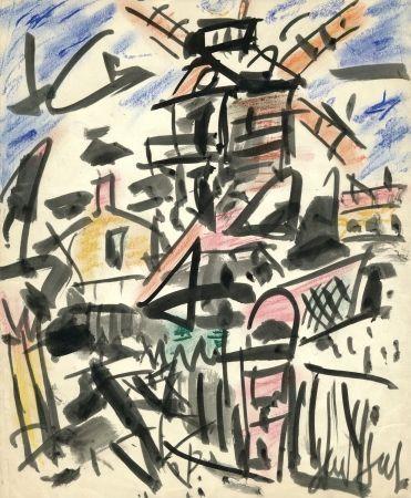 Нет Никаких Технических Paul  - Dessin Original / Original Drawing - LE MOULIN DE LA GALETTE - Paris / Montmartre