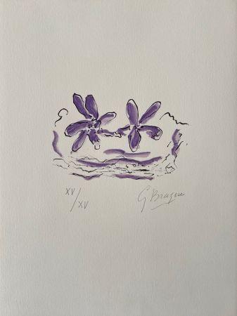Гравюра На Дереве Braque - Deux fleurs violettes