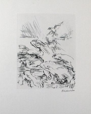 Гравюра Сухой Иглой Kokoschka - Die Frösche / The Frogs