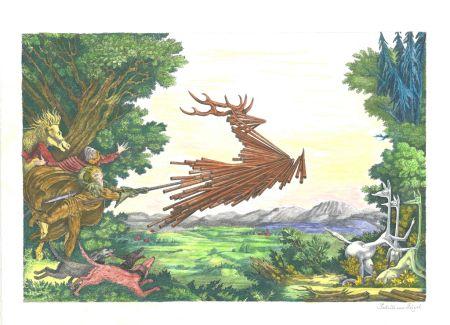 Литография Von Gugel - Die Jagdt ist älter als das Wild
