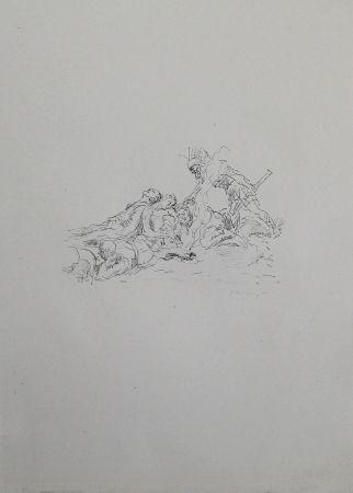 Литография Slevogt - Die Soldaten müssen im Schnee kampieren