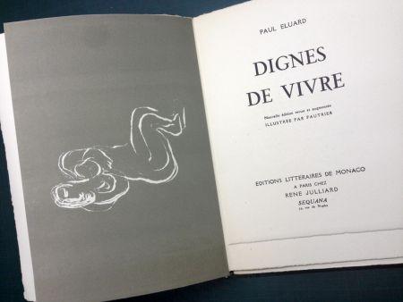 Иллюстрированная Книга Fautrier - DIGNES DE VIVRE. Lithographies de Fautrier. 1944