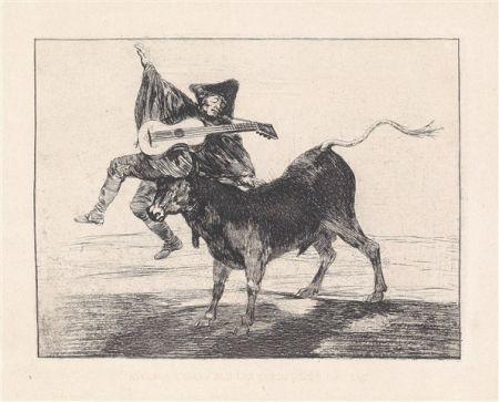Офорт И Аквитанта Goya - Dios se lo pague a usted (Aveugle enlevé sur les cornes d'un taureau)