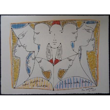 Литография Cocteau - Diversité de l'Europe