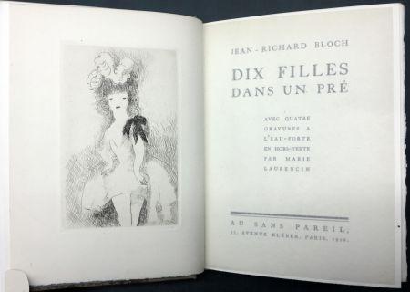 Иллюстрированная Книга Laurencin - DIX FILLES DANS UN PRÉ avec quatre gravures à l'eau-forte en hors-texte par Marie Laurencin (Ex. avec suite)
