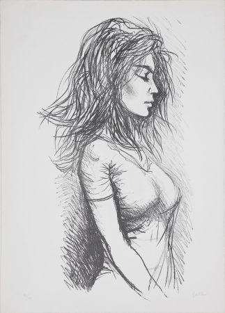 Литография Guttuso - Donna di profilo verso destra