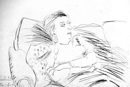 Офорт Tamburi - Donna sul divano