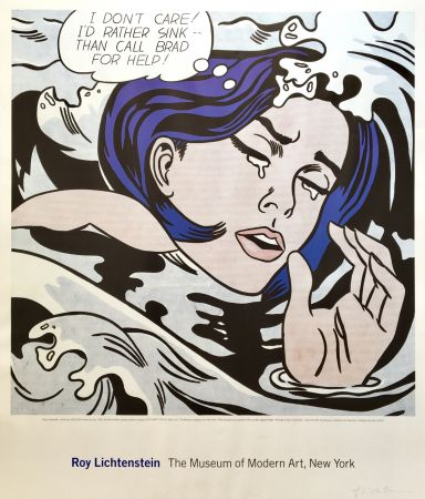 Литография Lichtenstein - 'Drowning Girl' Hand Signed Exhibition Poster 1996