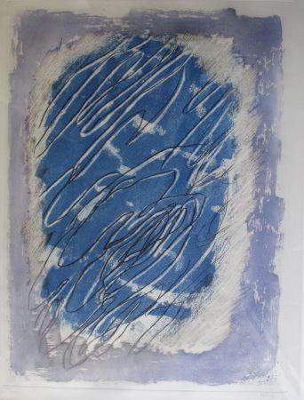 Акватинта Fautrier - Ecriture Sur Fond Bleu