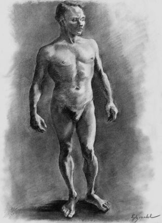 Литография Bonabel - ELIANE BONABEL / Louis-Ferdinand Céline - Litographie Originale / Original Lithograph - Nu Masculin / Male Nude - 1938