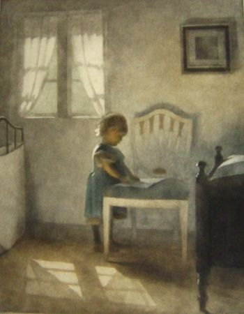 Mezzotint Ilsted - Ellen, little girl in a blue dress