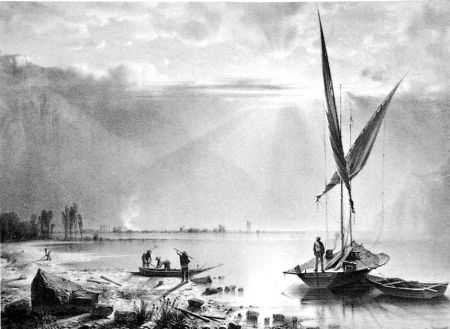 Литография Fontanesi - Embouchures du Rhone (Lac de Genève)