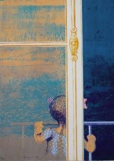 Сериграфия Cremonini - Enfant à la fenêtre