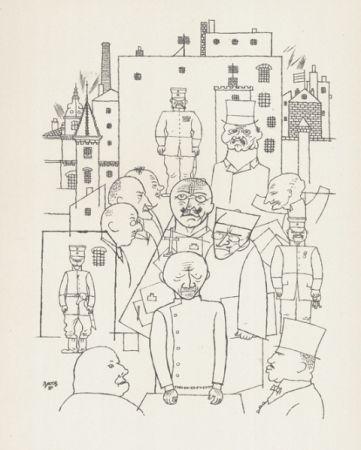 Литография Grosz - Er hat Hinderburg verspottet