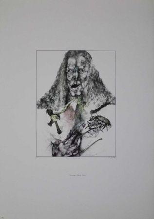 Литография Schwarz - Er ist tot (Hommage à Albrecht Dürer)