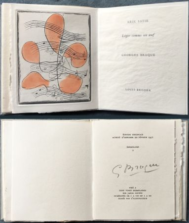 Иллюстрированная Книга Braque - Erik satie : LÉGER COMME UN ŒUF. Une gravure originale en couleurs (1957)