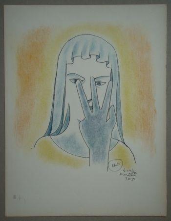 Литография Cocteau - Etude - La vierge se cache le visage avec 3 doigts