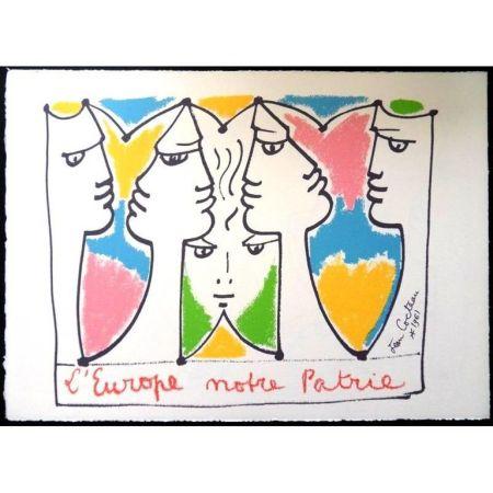 Литография Cocteau - Europe Pont pour les Civilisations