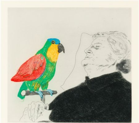 Офорт Hockney -  Félicité sleeping with Parrot. 1974