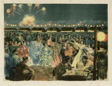 Литография Lunois - Fête de nuit sur les bords du Guadalquivir