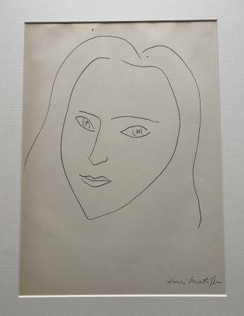 Литография Matisse (After) - Facing Woman's  portrait with long hair
