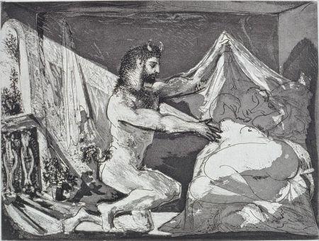 Офорт И Аквитанта Picasso - Faune dévoilant une femme