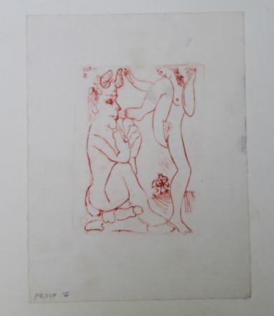Гравюра Picasso -  Faune Et Bacchante , Avec Combat De Faunes