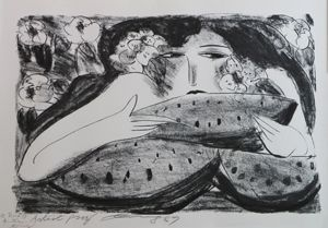 Литография Ting - Femme a la Pasteque,