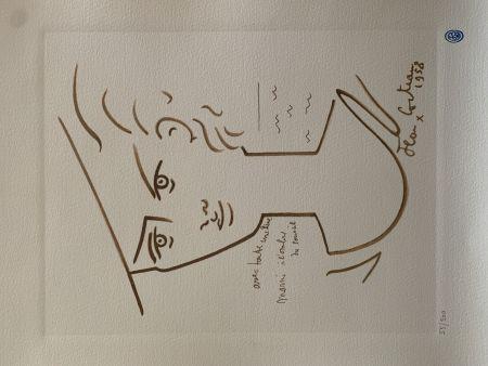 Литография Cocteau - Femme au chapeau