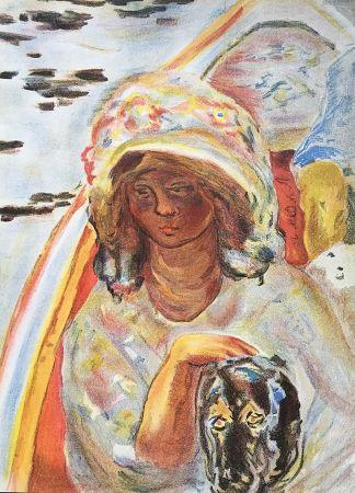Литография Bonnard - Femme au chien dans une barque