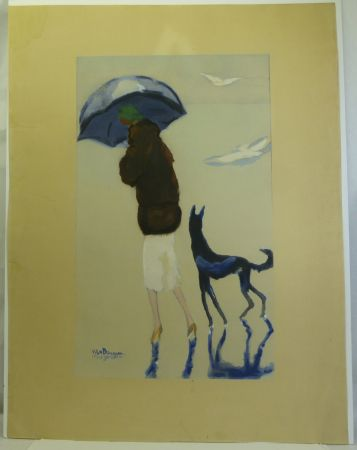 Трафарет Van Dongen - Femme au chien marchant sur la plage.